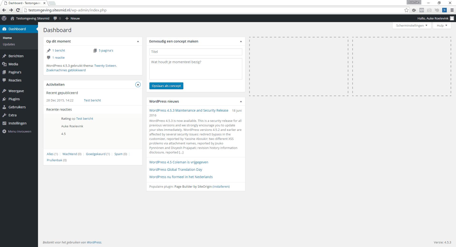 Het dashboard van WordPress