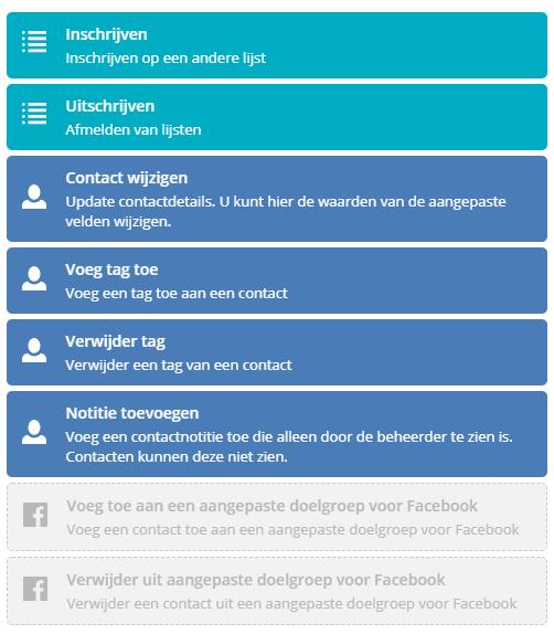 Contact acties van ActiveCampaign automatiseringen