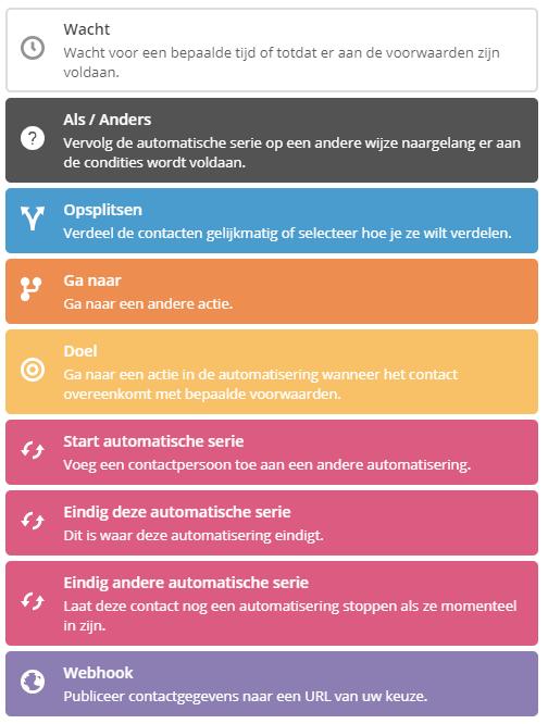 Contact voorwaarden van ActiveCampaign automatiseringen